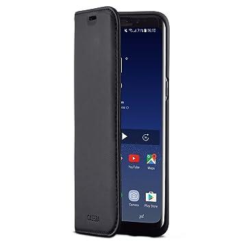 CASEZA Samsung Galaxy S8 Funda Negro Tipo Libro Piel PU Case Cover Carcasa Plegable Cartera Oslo Piel Vegana Premium para Galaxy S8 (5.8