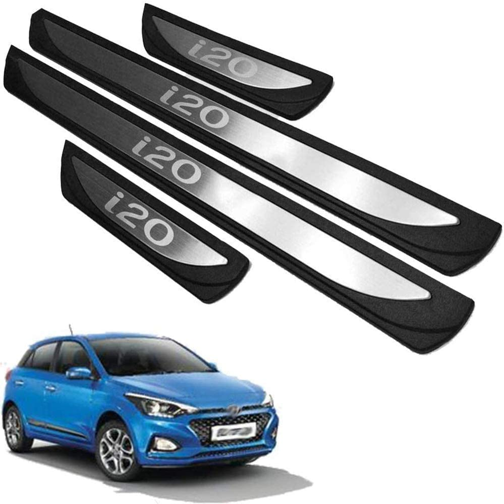 Stainless steel Welcome Pedal Kick Plate Guard Pedal Trims Anti-Scratch Decoration Accessories Lxzy 4Pcs Door sill Kick Plates Protectors for Hyundai Elite I20 2015-20