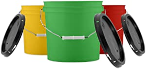 House Naturals 2 Gallon Buckets pails with Black Lids( Pack of 3) 3 Colors- Food Grade - BPA Free Made in USA