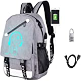 Sqodok Anime Luminous Backpack Waterproof, College Charging Bookbag with USB Charging Port and Lock, Anti-theft Travel…