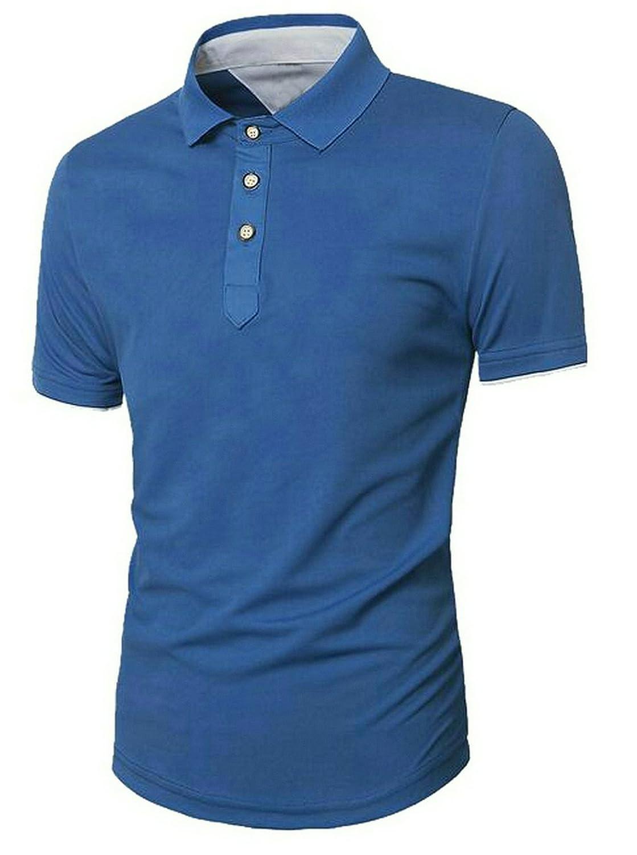 Fensajomon Mens Summer Lapel Short Sleeve Solid Slim Fit Business