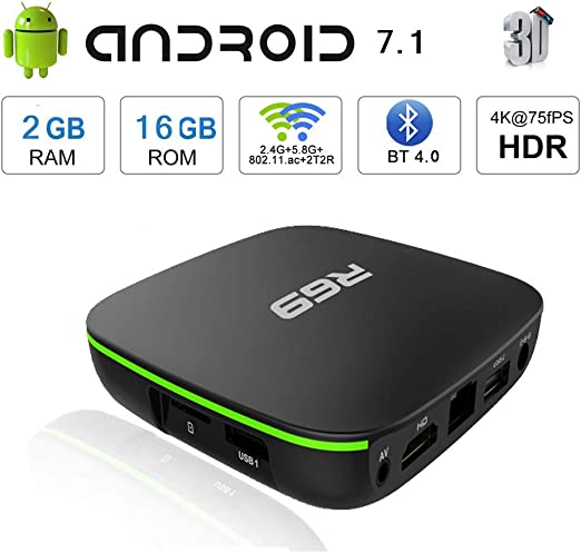 WFGZQ Android 7.1 TV Box, 2GB DDR3 / 16GB Quad-Core Smart TV Box ...