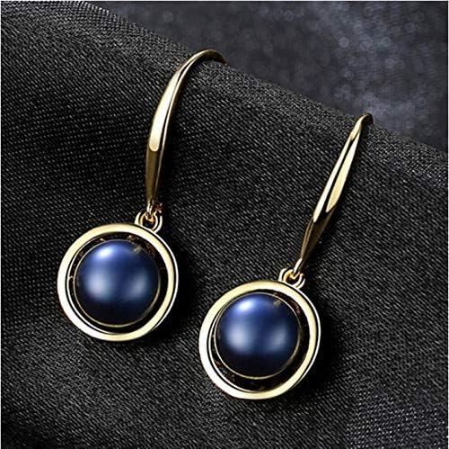 Pendientes vintage de perlas naturales para mujer Pendientes colgantes de perlas de agua dulce negras Fiesta de plata de ley 925 8-9MM 1