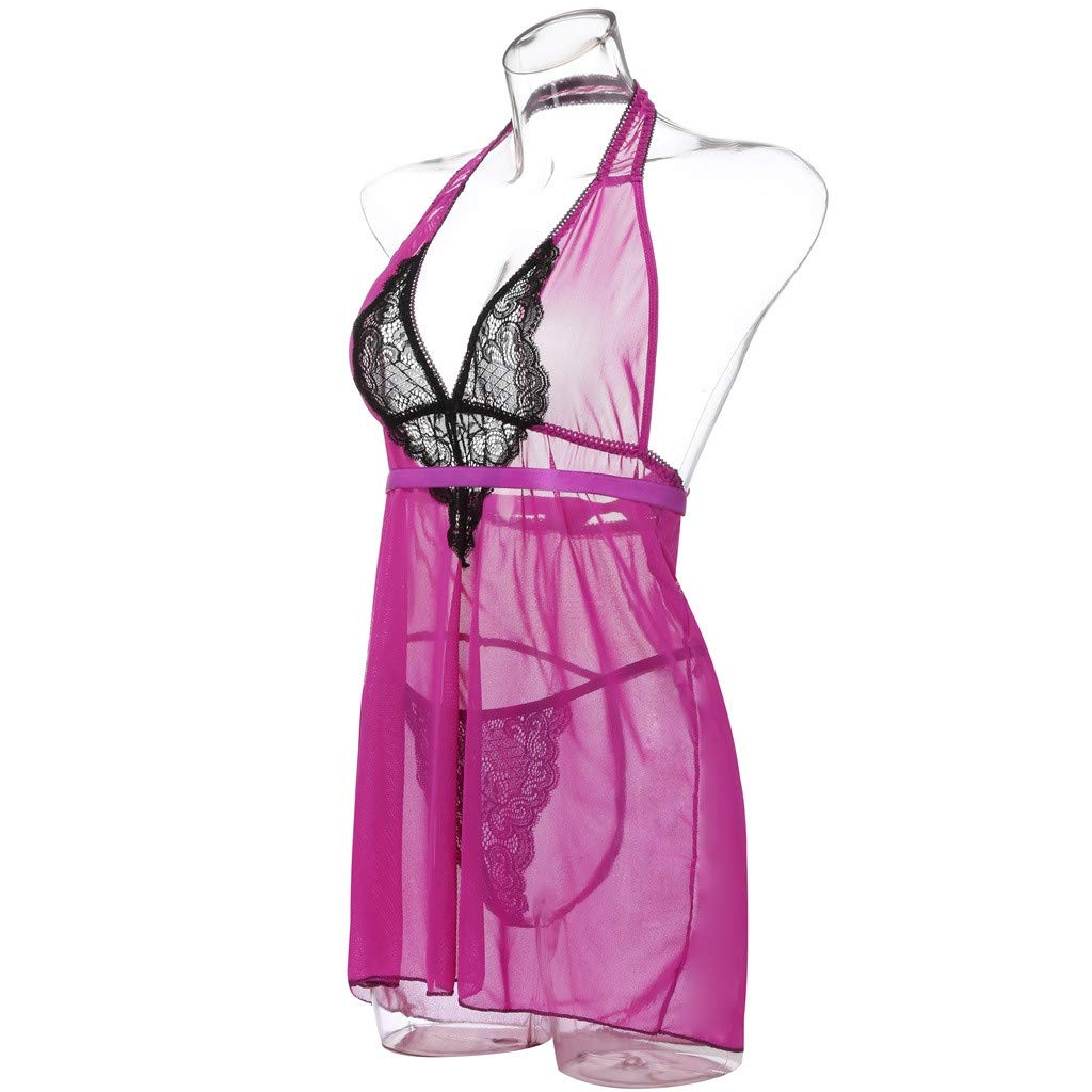 Internet_Mujer Sexy Lazo de Encaje Falda de Pijama,Erotica Lenceria Tamaño Grande,Halter Sujetador De Encaje,Cuello en V Costura de Encaje Hueco Vestido ...
