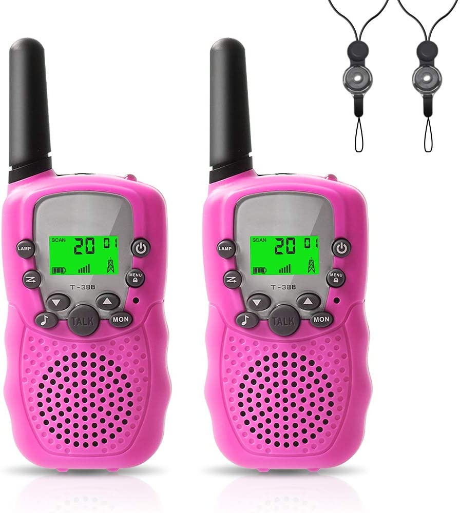Camping Felicigeely Walkie Talkies for Kids,Kids Walkie Talkies 2 Pack,Cover 3 Miles Range with Backlit LCD Flashlight 22 Channels 2 Way Radio Toy Outdoor Adventures Pink Hiking,Party