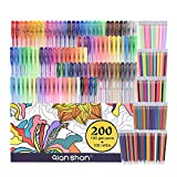 200 Pack Gel Pens set for coloring - 100 Pens PLUS 100 Refills - - metallic ...