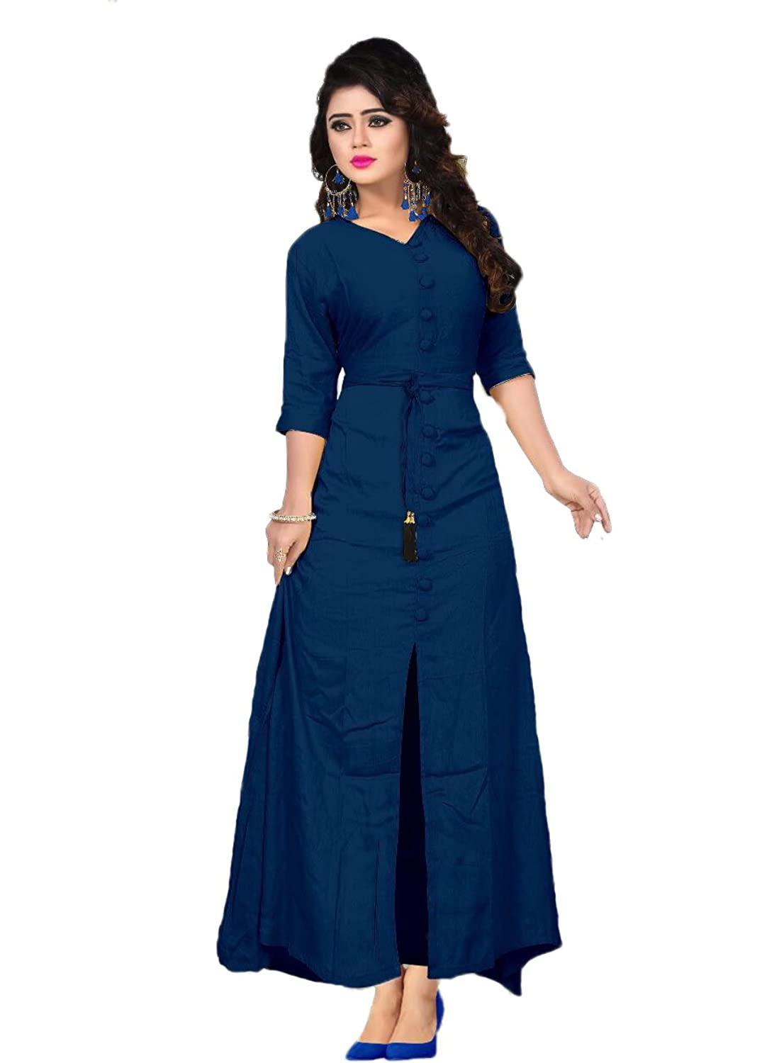 Women V Neck Style Loose Plain Maxi Dresses Casual Long Dresses