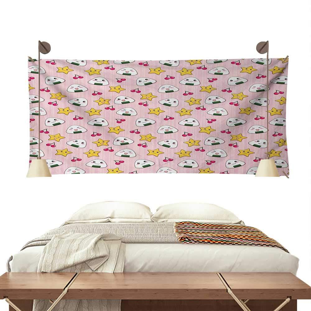 Amazon com jinguizi animesimple tapestryfunny pattern japanese rice balls cherries stars childish food cartoon printbig tapestry 93w x 70l inchmulticolor