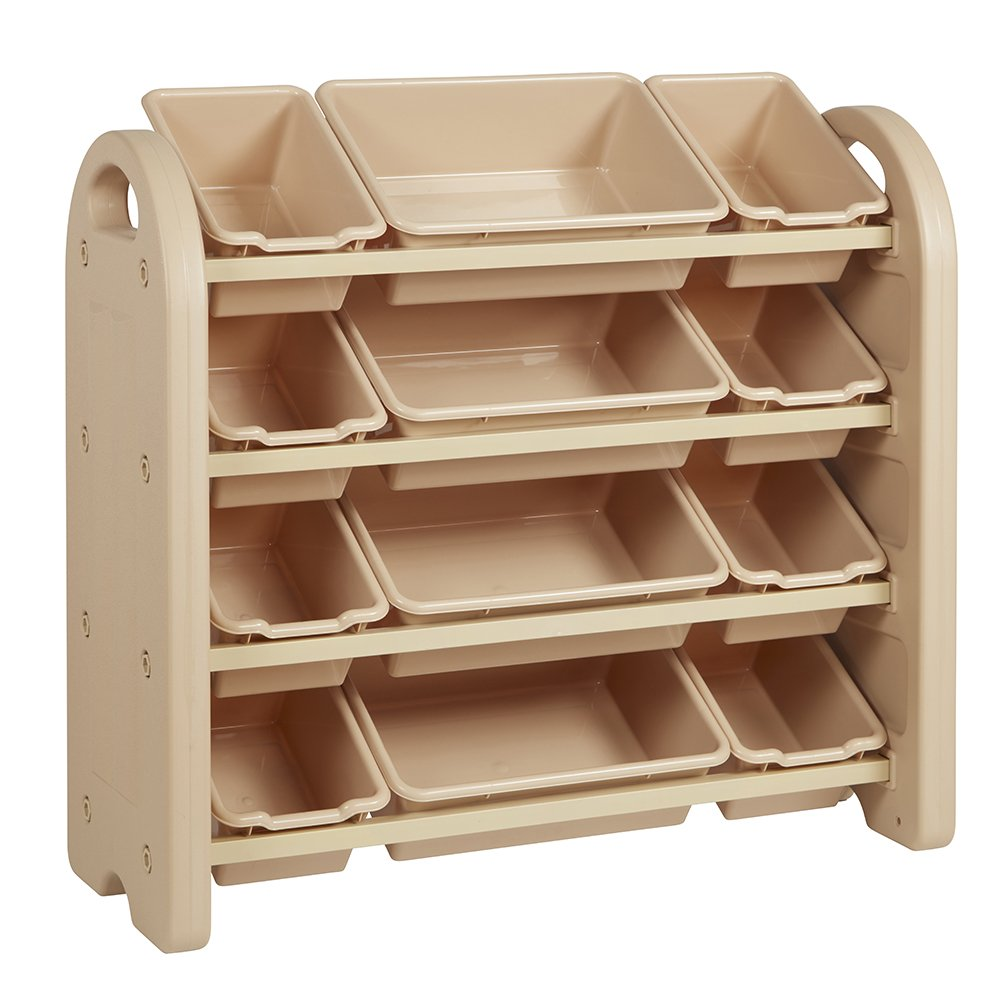 ECR4Kids 4-Tier Toy Storage Organizer for Kids, Sand with 12 Sand Color Bins