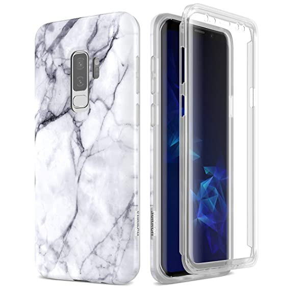 wholesale dealer 9f9e7 d4133 SURITCH Samsung Galaxy S9 Plus Marble Case, [Built-in Screen Protector]  Natural Marble Full-Body Protection Shockproof Rugged Bumper Protective  Cover ...