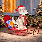 Outdoor 33'' Husky Dog in Sled Sculpture Christmas Holiday Yard Decoration Seasonal Display