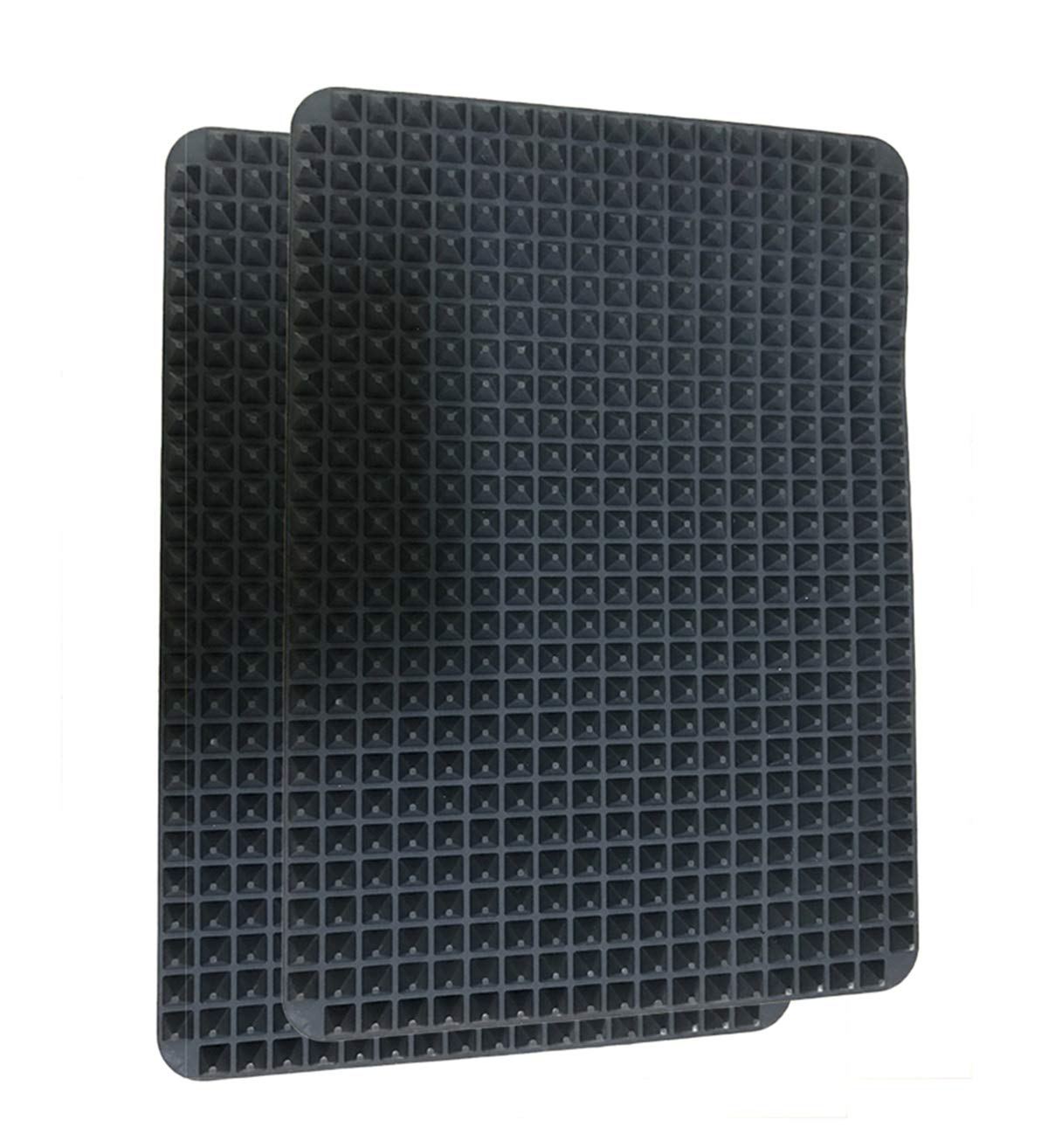 Non-stick Silicone Baking Mat,Pyramid Healthy Cooking Oven Mat Fat-reducing Grill Mats BBQ 15.1 x 10.6Inch (2Pack) (Black-2 pack)