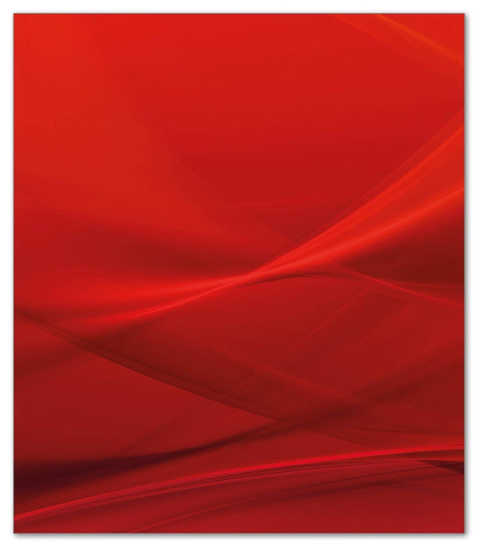 80x52cm Abstrakte rotes Muster Wallario Herdabdeckplatte 1-teilig aus Glas
