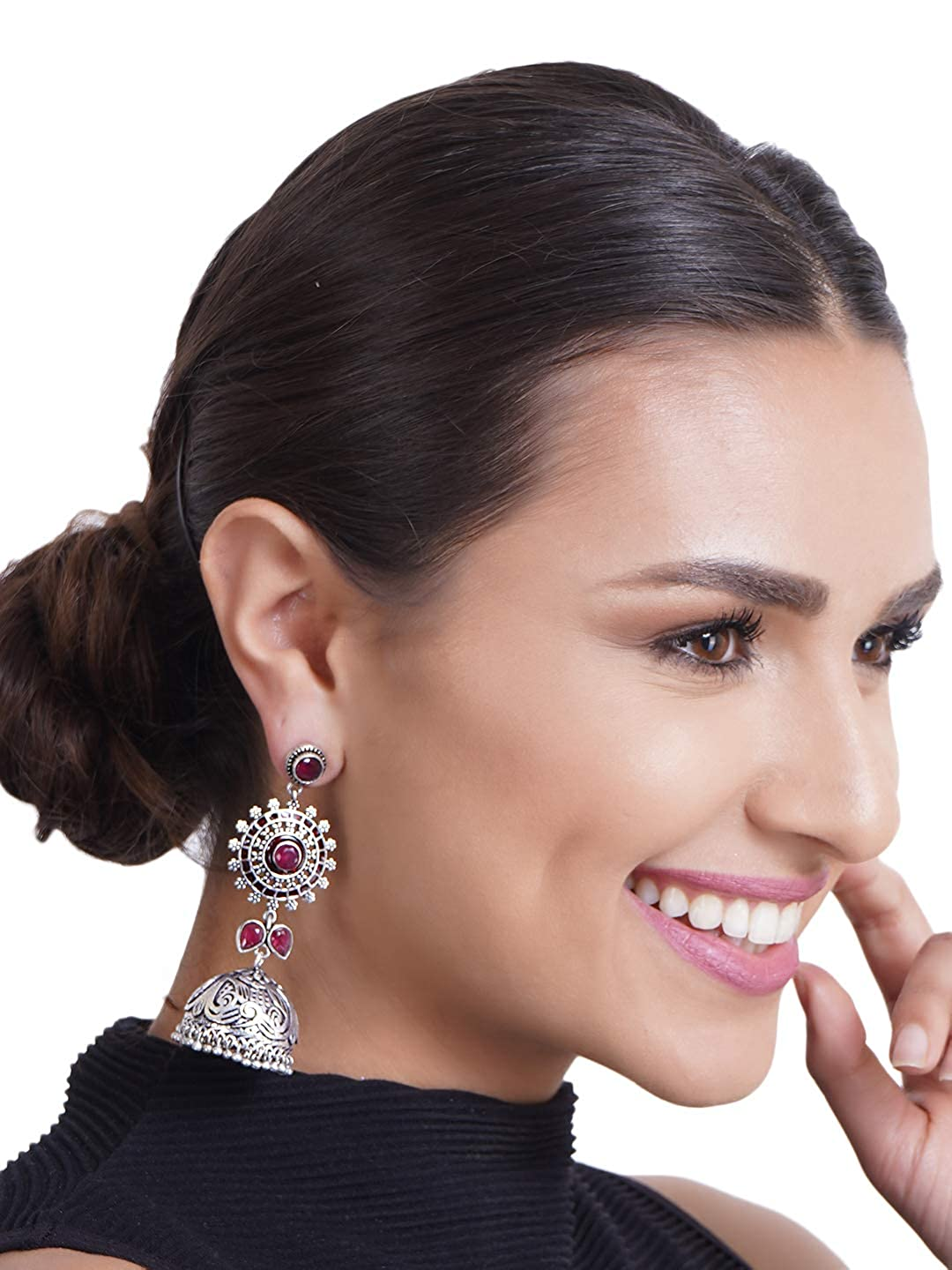 Crunchy Fashion Bollywood Style Traditional Indian Oxidised Silver Jewelry Jhumki Jhumka Earrings for Women//Girls