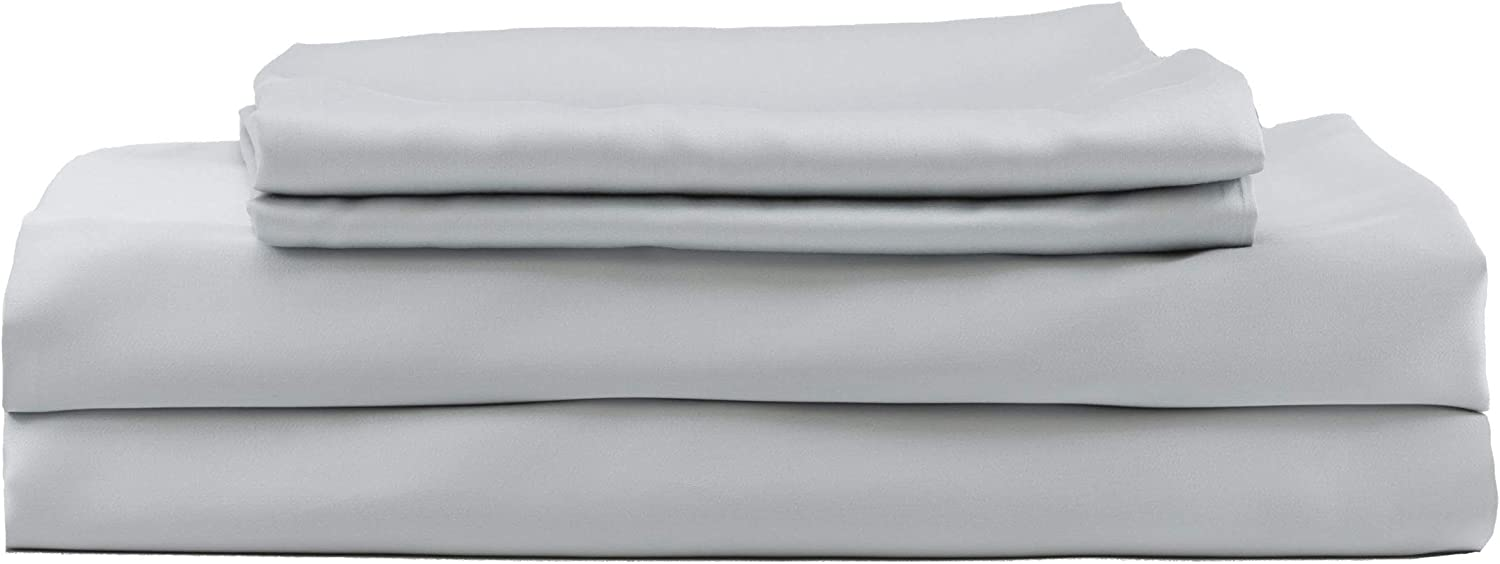 Hotel Sheets Direct 100% Bamboo Bed Sheet Set - Cooling and Thermoregulating, Hypoallergenic, Softer Than Silk (Full, Grey)