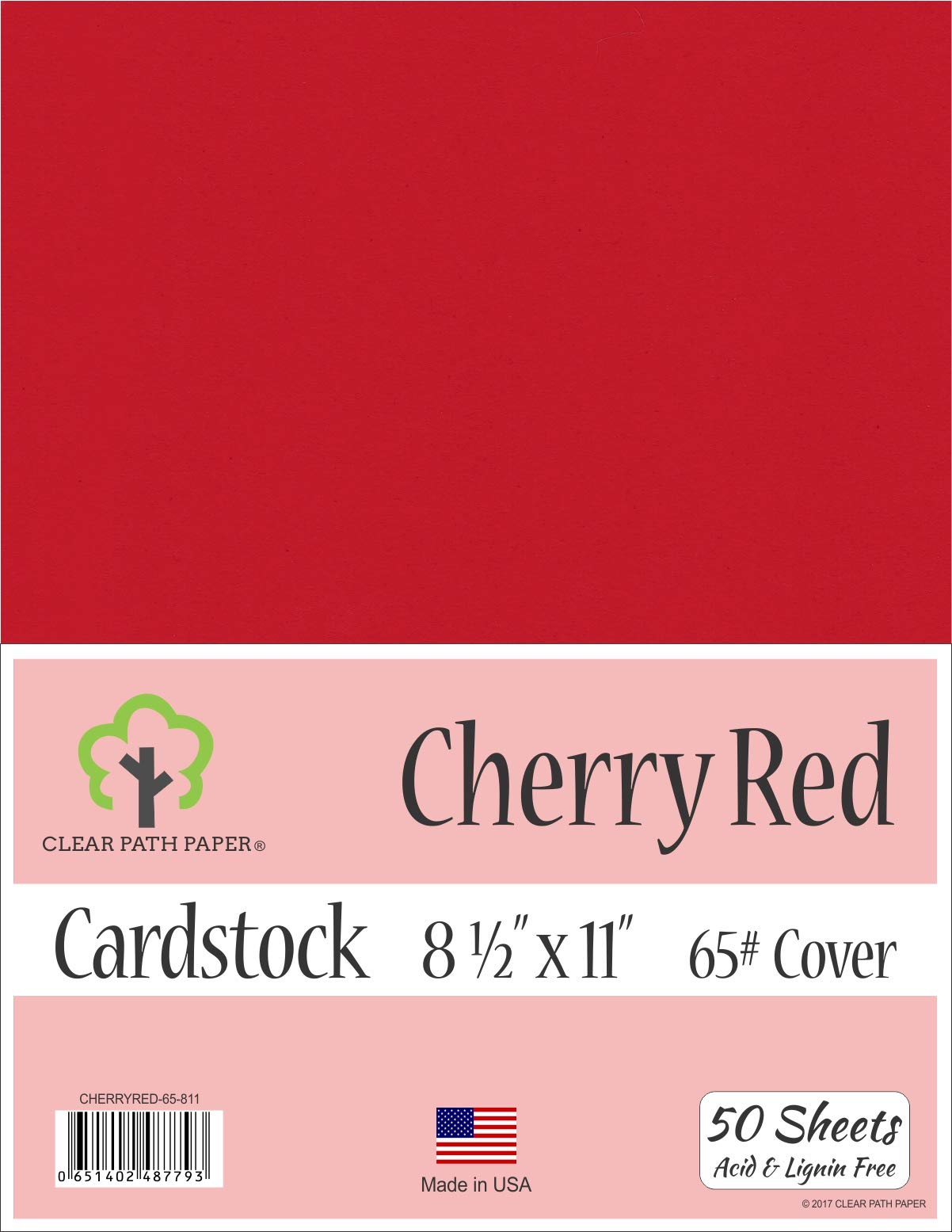 Cherry Red Cardstock - 8.5 x 11 inch - 65Lb Cover - 50 Sheets
