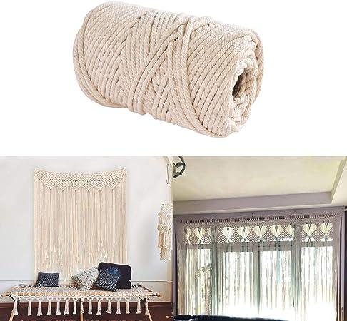 Cuerda de algodón natural hecha a mano de 4 mm para colgar en la pared de macramé 4mm x 10meters: Amazon.es: Hogar