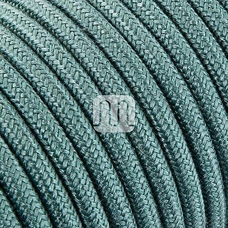 Câble électrique rond Rond recouvert de tissu coloré fils brut Vert sauge 2x 0,75pour lustres, lampes, abat jour, Design. Fabriqué en Italie. 75pour lustres Design. Fabriqué en Italie. MERLOTTI