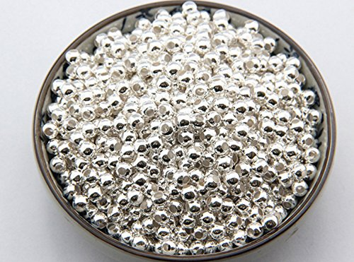 Kingken Environ 1000pcs Shining Mini Crimp Spacer Bouchon rond Perle pour DIY Bijoux Accessoires