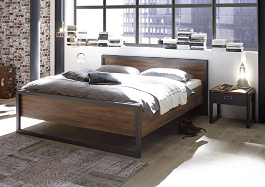 Beauty Scouts Bett Java Gran Bettgestell Holzbett Schlafzimmer Doppelbett 180x200 In Stirling Oak Nachbildung Loft Industrie Design 196x86x209 Cm Amazon De Kuche Haushalt