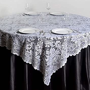 Efavormart 72u0026quot; X 72u0026quot; JOLLY GOOD Lace Table Square Tablecloth  Overlay White Square