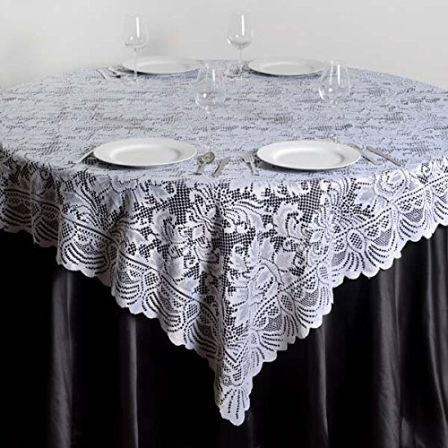(White) - Efavormart 180cm x 180cm JOLLY GOOD Lace Table Table Overlay - White (Table Toppers)  ホワイト B01MR3HINT