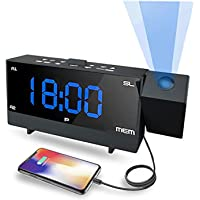 MEIQ Projection Alarm Clock, Ceiling Digital Clock with Dual Alarms, 12/24 H, Dual USB Charging, Self-Control Snooze Function, Dimmable Sleep Timer and FM Radio Clock for Kids Bedroom (Black)