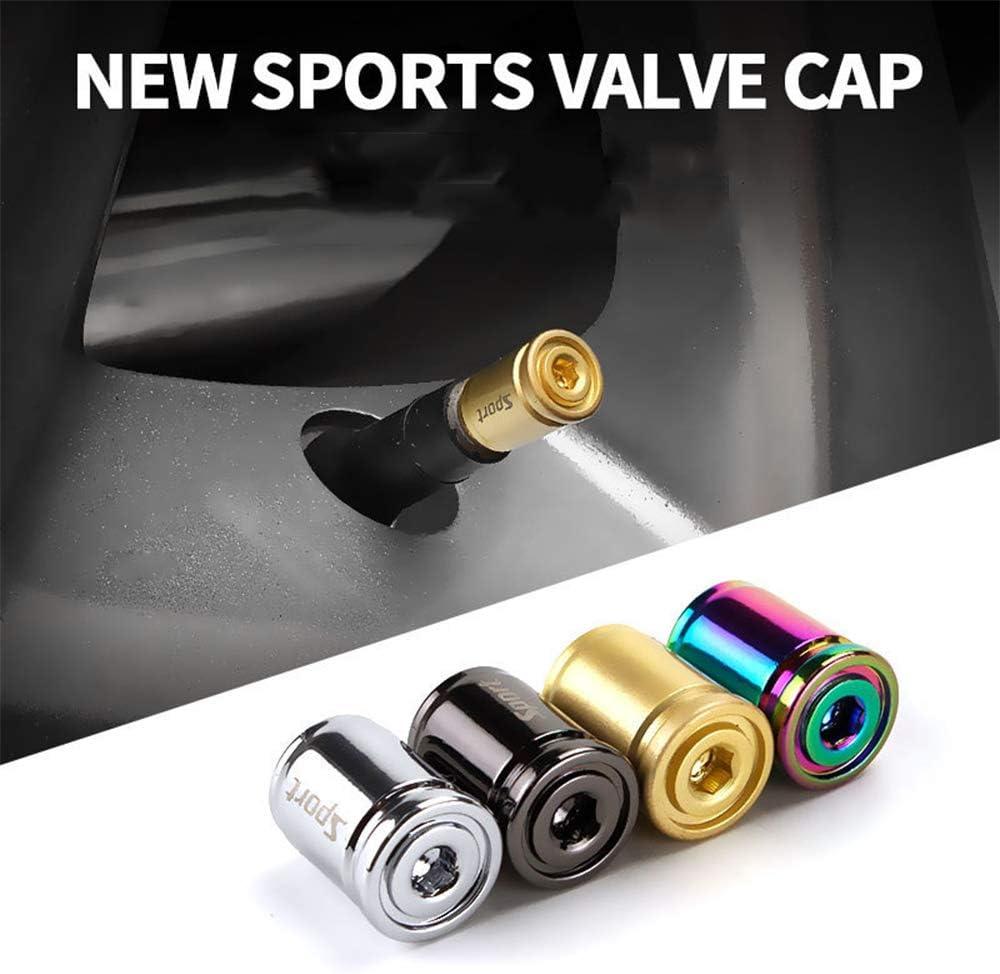 Multicolor LEIWOOR New Anti-Theft 4Pcs Valve Cap Creative Tire Cap Sport Modification Universal Metal Tire Mouth Valve Core Cap