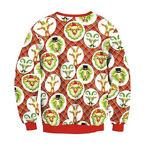 Girls 1 Girocollo Shirt 4 8 Autunno Coat Camicetta colore Ladies Pullover colore Casual Inverno Taglia Outwear Top Dimensione Felpa Natale L Donne Stampato Donna Sciolto wtxpzSwYq