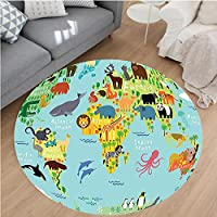 Nalahome Modern Flannel Microfiber Non-Slip Machine Washable Round Area Rug-Animals Map of the World for Children and Kids Cartoon Mountains Image Green Yellow Blue area rugs Home Decor-Round 43