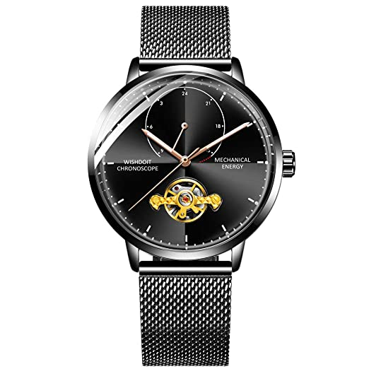 97398929890b WISHDOIT Reloj para Hombre Elegante Automático Reloj Negro Acero Impermeable  Minimalista Bauhaus-Estilo Moda Reloj de Pulsera Mecánico para Hombres  ...