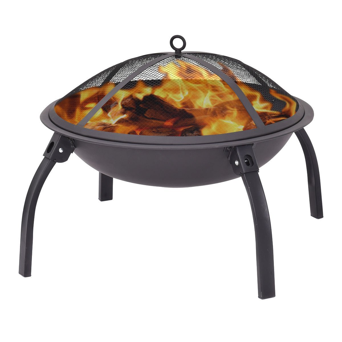 Giantex 22'' Outdoor Metal Firepit Backyard Patio Garden Round Stove Fire Pit With Poker(Round)