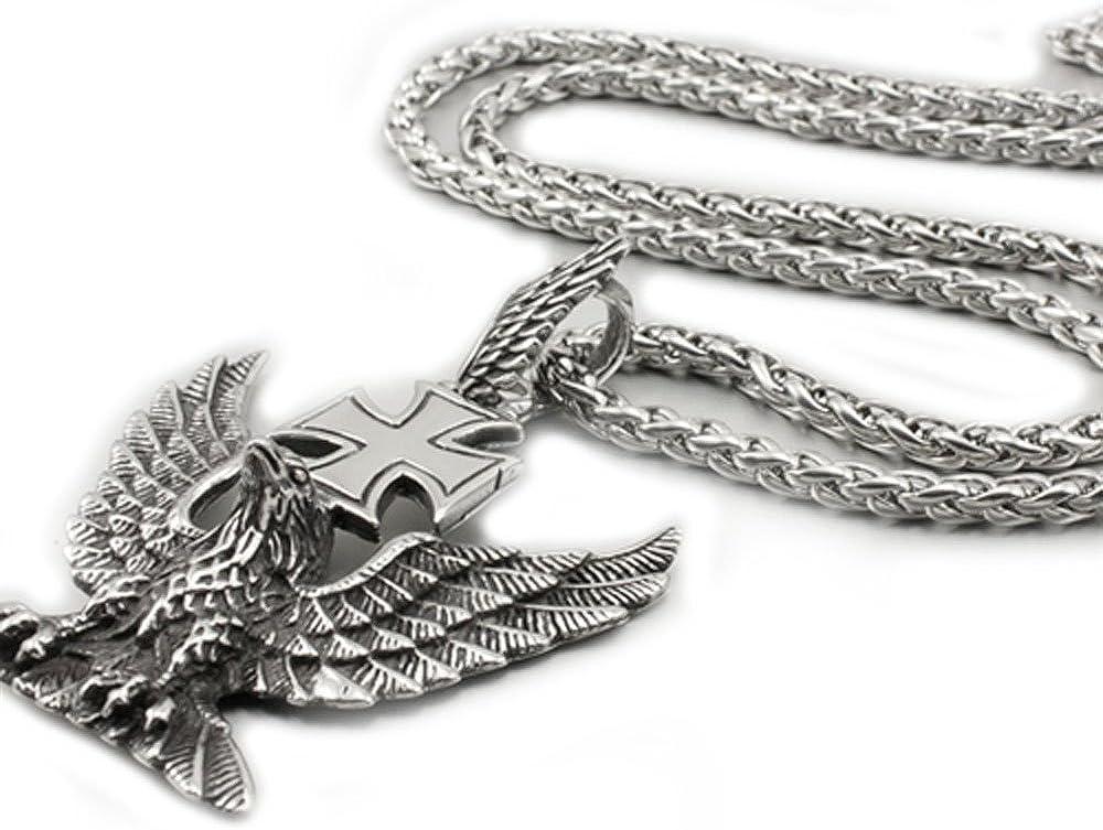 Linsion vintage arm/ée Croix Eagle Icon Pendentif Collier en acier inoxydable pour homme motard Rocker Bijoux 4s022