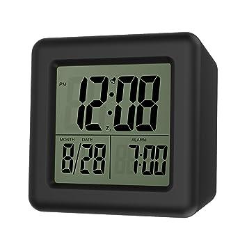 Moko Despertador Digital con Alarma, Alarma Reloj de Pantalla LCD con Pilas Pequeño Reloj con Función Despertador/Calendario / Luz de Fondo para ...