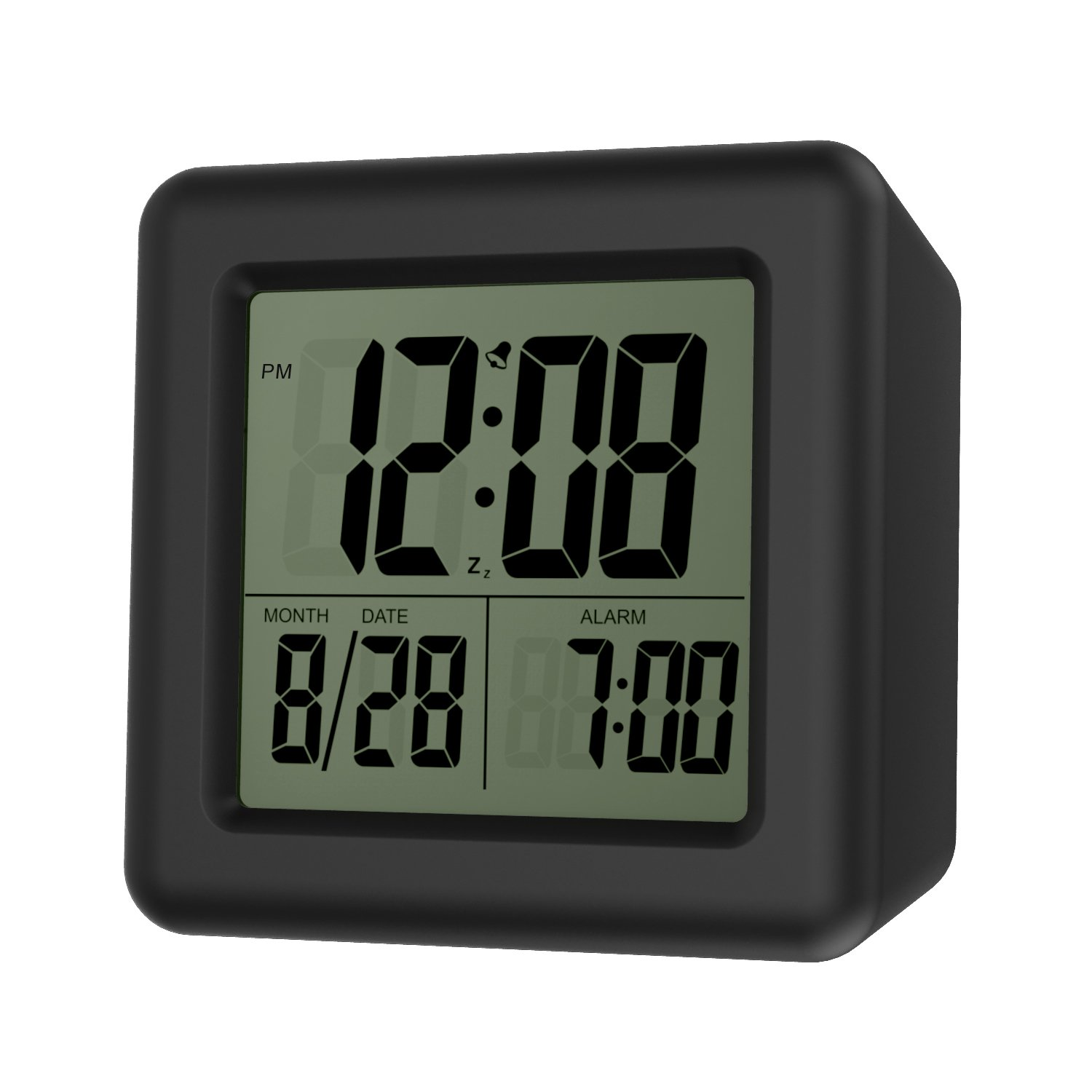 MoKo Digital Alarm Clock, Wake Up Alarm Table Bedside Clock LCD Display Battery Powered Small Clock with Snooze Function/Calendar/Backlight for Bedroom Home Office - Black