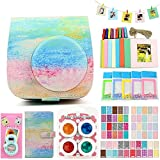 QUEEN3C Instax Mini 9 Case Accessories Kit Bundle for Fujifilm Instax Mini 9 or 8/8+,Include: Camera Case/Album/Color Filters/Selfie Lens/Photo Decor Stickers & More.(Watercolor)