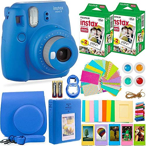 Fujifilm Instax Mini 9 Instant Camera + Fuji Instax Film (40 Sheets) + Batteries + Accessories Bundle - Carrying Case, Color Filters, Photo Album, Stickers, Selfie Lens + More (Cobalt Blue)