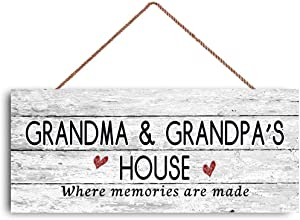 """New Sign Grandma and Grandpa's House Sign, Where Memories are Made, Distressed Style, Gift for Grandparents, 6"""" x 14"""" Sign"""