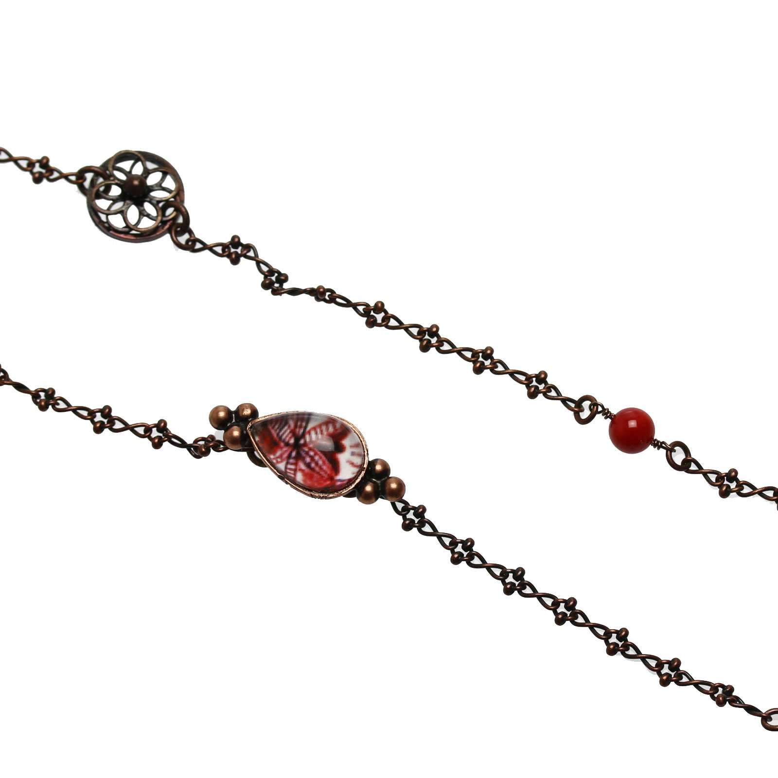 Tamarusan A Floral Design Antique Style For Glasses Chain Coral Red nickel free