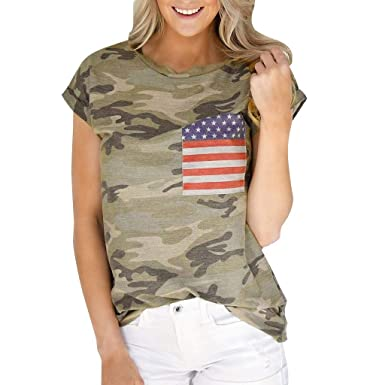 b4929a0d9f796f Amazon.com: Fainosmny Camouflage Tops Summer Loose Shirts Womens American  Flag Tees Short Sleeve T-Shirt Casual O Neck Blouse Tanks: Clothing