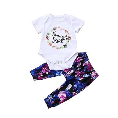 DIGOOD For 0-18 Months Baby, Toddler Baby Girls Boys Floral Letter Print Romper+Pants 2Pcs Elegant Outfits Set
