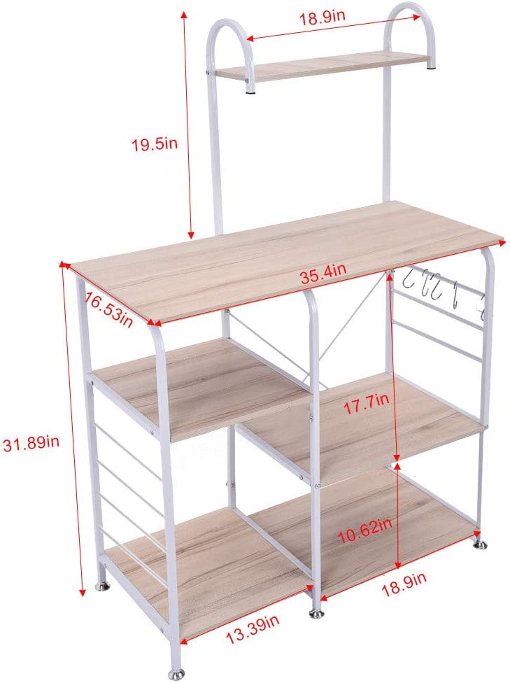 Beyonds Kitchen Bakers Rack Utility Microwave Oven Stand Storage Cart Workstation Shelf with Basket Large Size White