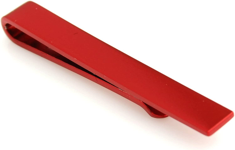 Peluche Slim Tie Bar - Scarlet Red Rhodium Plated Premium Tie Pin for Men