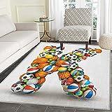Letter K Rug Kid Carpet Alphabet Letter with Gaming Balls of Popular Sports Fun Initial Monogram Design Home Decor Foor Carpe 4'x6' Multicolor