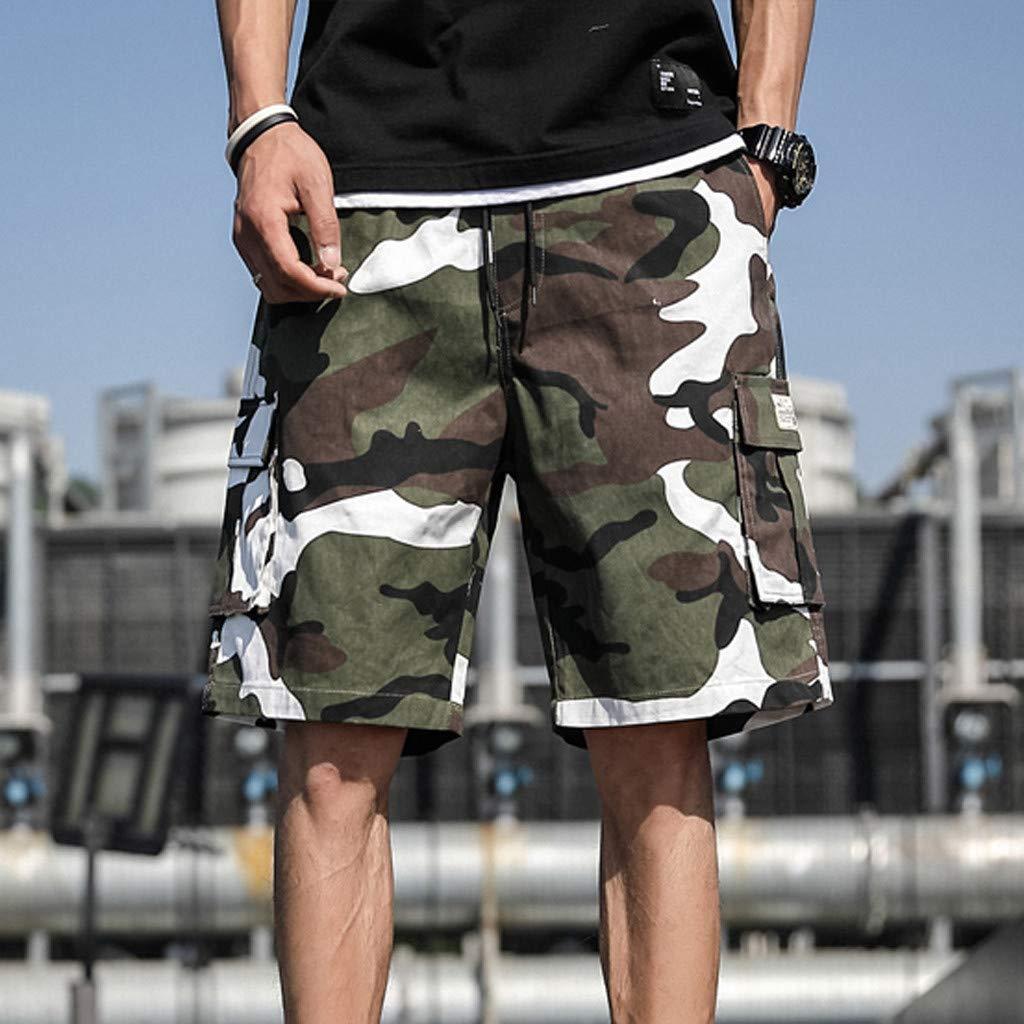 Pantaloncini Uomo,Uomo Cargo Pantaloncini Vintage Stile Militare Corti Bermuda Short con Tasconi Laterali Basket Running Palestra Calcio Bici Pantaloni Corti Uomo Sportivi