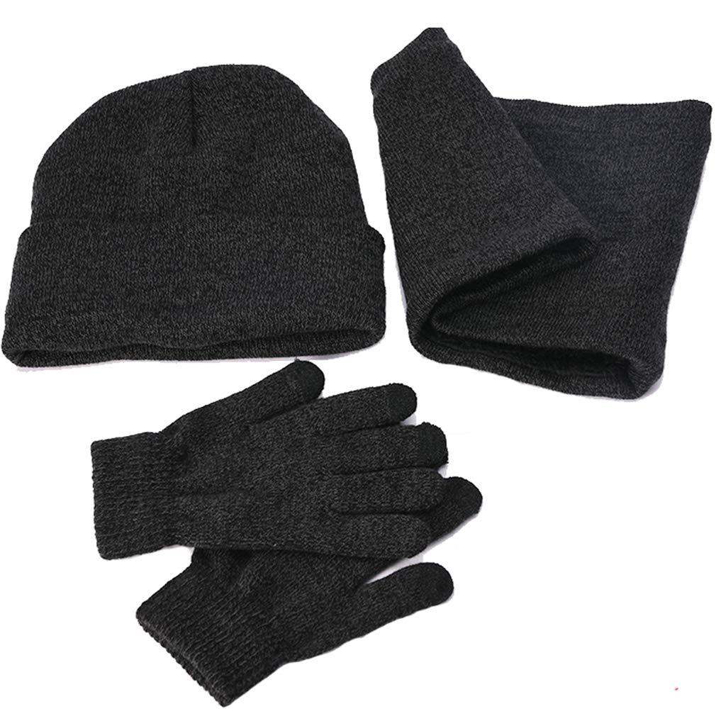 f5e6873101 Herren Damen Mütze Schal Handschuh Sets Warme Winter Accessorie Strick  Wintermütze Loop-Schal Handschuhe mit Fleecefutter