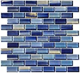 Blue Watercolor Glass Tile Blend 1'' x 2''