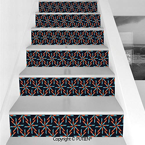 (PUTIEN American Stair Stickers Wall Stickers,6 PCS Self-Adhesive [ Geometric,Pinwheel Designs with Dark Ton)