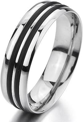 Jewels By Lux Titanium 10mm Black Enamel Stripes Brushed Band
