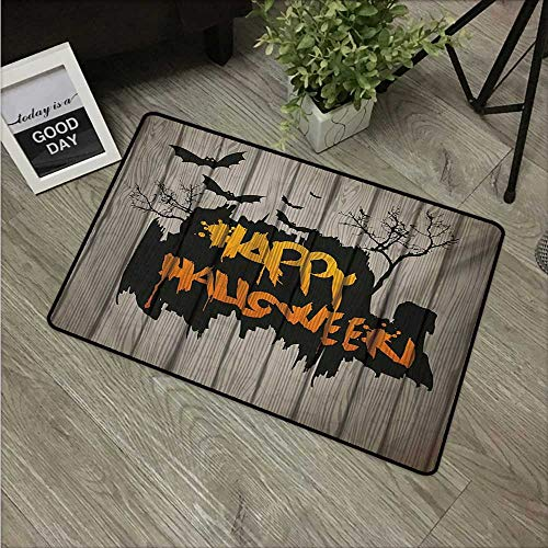 HRoomDecor Halloween,Entrance Door Mat Happy Graffiti Style Lettering on Rustic Wooden Fence Scary Evil Holiday Artwork W 24
